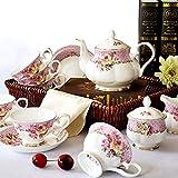 XCTLZG 15 Pieces Tea Set for Adults Coffee Tea Pot Bone China Coffee Cups Porcelain Tea Set With Teapot Tea Service for Afternoon Tea,C