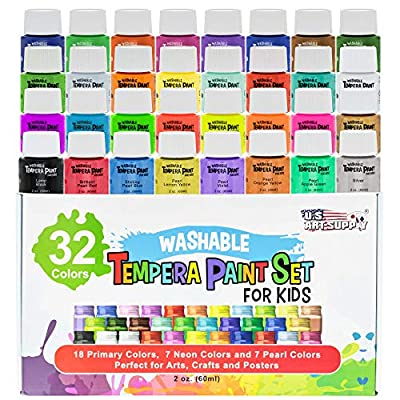 U.S. Art Supply 32 Color Children's Washable Tempera Paint Set - 2 Ounce Wide Mouth Bottles for Arts, Crafts and Posters from US Art Supply