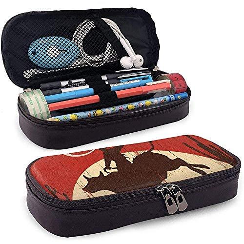 Estuche para lápices, mayor capacidad |Handy Designed Pencil Holder Pen Bag Pouch for School - Cowboy Riding Bull Wlid West Rodeo Cactus Wooden Red