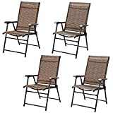 Giantex 4 Pieces Patio Dining Chairs, Portable Folding Chairs, Camping Chair with Armrest, Outdoor Dining Chairs for Bistro, Deck, Backyard (4)