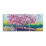 wcylj Lienzo Pintura Abstracta Caligrafía Árbol de Flores de Primavera Carteles e Impresiones Arte Cuadro de la Pared Sala de Estar Decoración del hogar-60x80cm