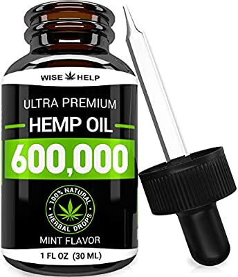 Hemp Oil Drops 600,000 - Made in USA - Anxiety & Stress Relief - Optimum Absorption & BIOAvailability - Natural Supplement for Sleep, Immune & Mood Support - Omega 3-6-9 - Mint Flavor by WiseHelp
