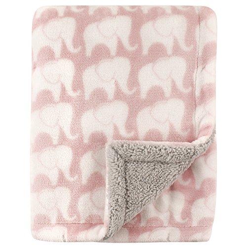 Hudson Baby Unisex Baby Plush Blanket with Sherpa Back, Pink Elephant, One Size