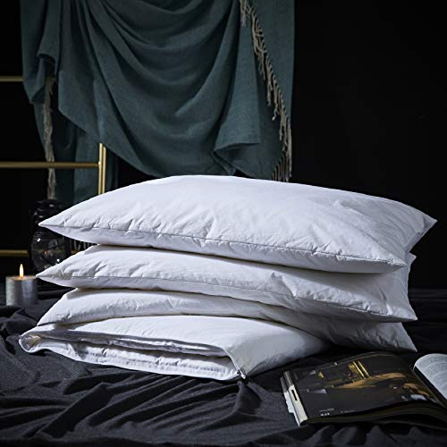 Three Geese Adjustable Layer Goose Feather Pillow,Assemblable Bed Pillow,100% Soft Egyptian Cotton Cover,Good for Side and Back Stomach Sleeper, Queen Size,Packaging Include 1 Pillow.