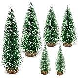 6Pcs Mini árbol de Navidad Artificial Mini Navidad Verde Árbol Artificial Abeto Mini Árbol de Navidad Pequeño con Bases de Madera Ideal para Navidad Decoración Micro Paisaje 4 tamaños