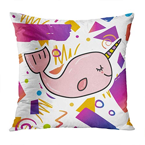 Yaxinduobao Bed Pillows Loft Pillows 18 x 18 inches Trendy Prind Design Cute Pink Polyester Soft Square for Couch Sofa Bedroom
