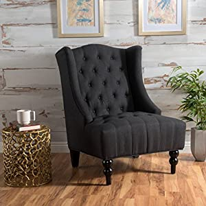 Clarice Charcoal Tall Wingback Fabric Club Chair