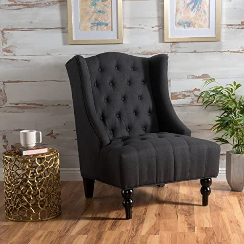Best Christopher Knight Home Toddman High-Back Fabric Club Chair, Dark Charcoal