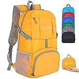 ZOMAKE Zaino Ripiegabile 35L, Zaino Leggero Pieghevole - Zainetto Impermeabile per Uomo Donna Hiking Viaggio Trekking Città Sportivo (Giallo)
