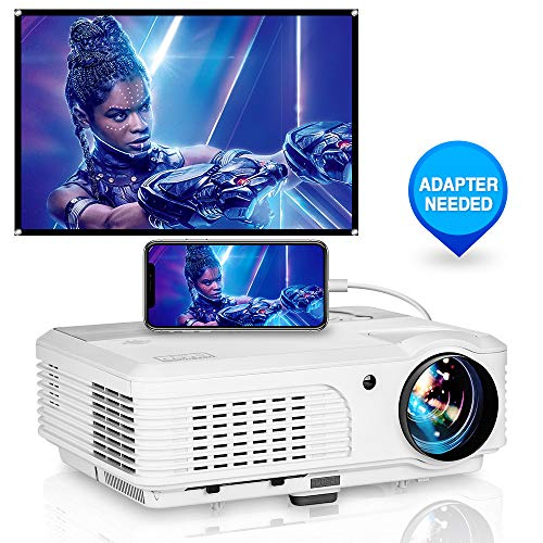 "WIKISH Hd Home Projector 4400 Lumen Led Video Projector with 150"" Display Zoom Hdmi Usb Vga for Indoor Outdoor Movie Dvd Tv Box Ps4 Laptop Tablet"