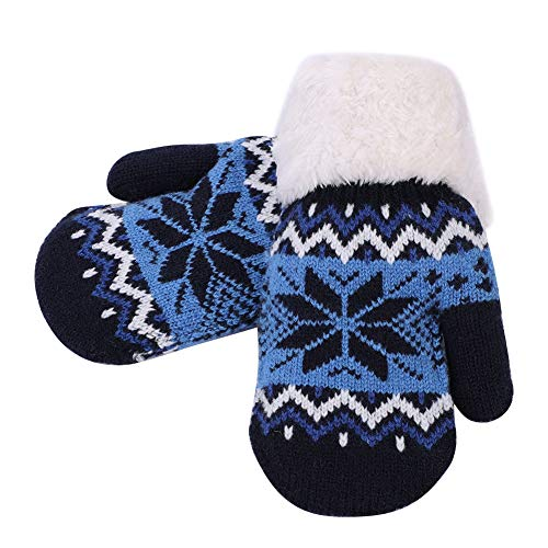 IBLUELOVER Moufles Enfant Gants Hiver Filles Garçons Gants de Ski Épaisses Gants en Tricoté Doublure Polaire Gloves Motif Flocon de Neige Gants Chauds Doux Confort Cadeau de Noël 5-12 Ans