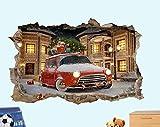 TJJY Pegatinas de pared Regalo de Navidad coche trineo 3D arandela de pared pegatina decoración de habitación Mural 60x90 cm