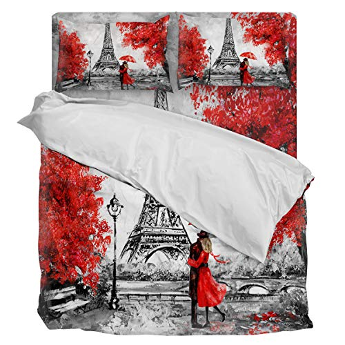 Three Sunflower 4 Piece Duvet Cover Bedding Set Twin Size, Embrace Paris Autumn Red Maple Leaves Romantic Art Luxury Soft Bedding Set Comforter Cover (1 Duvet Cover + 1 Bed Sheets + 2 Pillowcases)