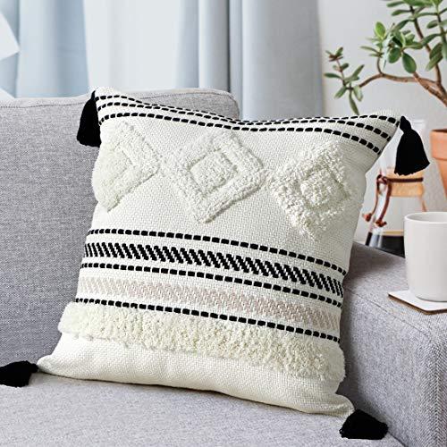 LOMOHOO Fundas de Almohada de Tiro Boho Funda de Almohada Decorativa Rectangular Lumbar de 12X20 Pulgadas en Blanco y Negro para sofá sofá Dormitorio Sala de Estar 45x45cm (1pc)