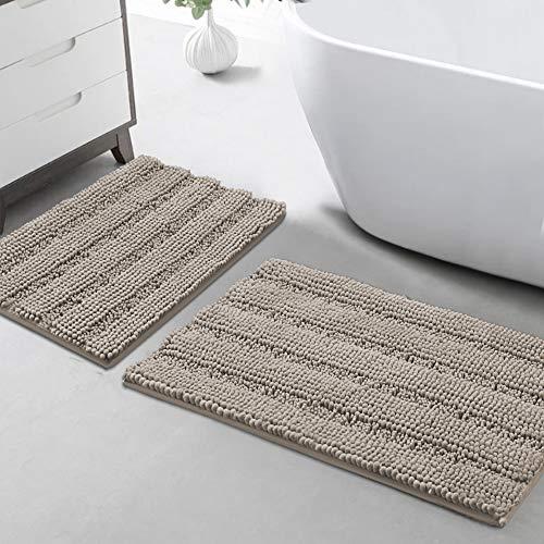"""Chenille Area Rug (Non-Slip) Kitchen and Bathroom Mat Rug Super Water Absorbent Soft Microfibers,Machine-Washable,Hand Tufted Heavy Weight, Taupe, Size 20""""X32"""" & 17""""X24"""""""