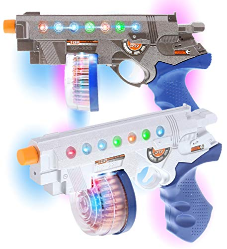 Mozlly Revolver Space Handgun Toy Set of 2 - Flashing LED Laser Guns for Kids with Sounds Effects, Realistic Blaster Gun Toy for Party Favors & Costume Dress Up Accessory Prop Pretend Play - 2 Pack