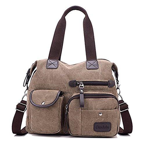 Gindoly Damen Canvas Handtasche Groß Modisch Umhängetasche Multi Tasche Schultertasche Hobo für Reisen Schule Shopping und Arbeit (Braun)