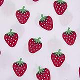 SCHÖNER LEBEN. Baumwollstoff Erdbeeren weiß rot grün