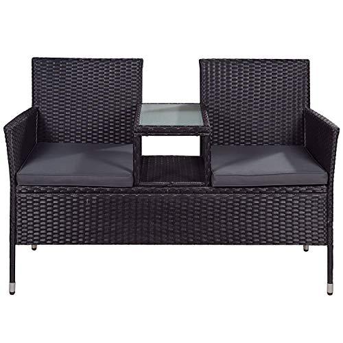 ArtLife Polyrattan Gartenbank Monaco schwarz – 2-Sitzer Bank mit integriertem Tisch & Kissen in Grau – 133 × 63 × 84 cm – Sitzbank wetterfest - 3