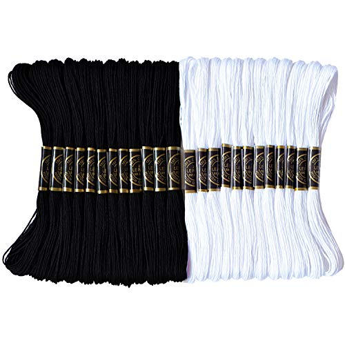 Premium Embroidery Floss - Cross Stitch Threads - Friendship Bracelets Floss - Crafts Floss-Black and White - Hand Embroidery Thread 24 Skeins Per Pack