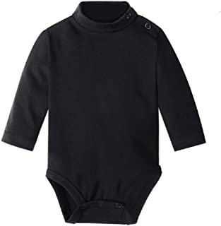 Hooyi - Bodi de manga larga para bebé, niño, niña, color liso, cuello alto, ropa de algodón, 3 - 36meses