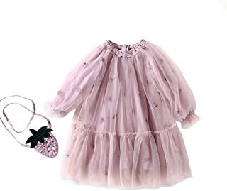 Fairy-Baby Toddler Girls Autumn Long Sleeve Princess Dress Pure Color Girls Skirt Cartoon Strawberry Pineapple Mesh Dress Babys Daily Dress (Color : Pink, Size : 140)