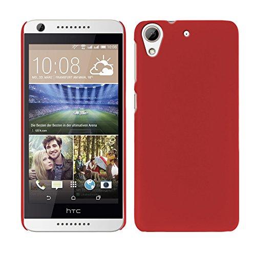 RT-TRADING HTC Desire 626 / 626G Dual SIM - Rubber Schutzhülle Gummiert Hybrid Hard Hülle Schutz Cover Etui Hülle Tasche in Rot
