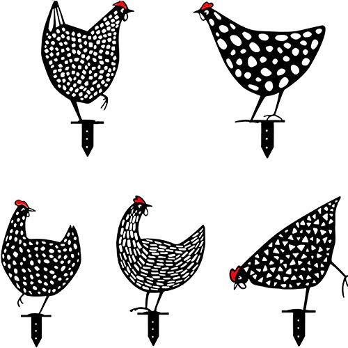 Hahn Metall Tier Silhouette Pfahl für Yards, lebensechte Henne, Hühnerhof Kunst, dekorative Garten Pfähle Metall Henne Hof Dekor, Outdoor Rasen Ornamente Yard Zeichen (5St)