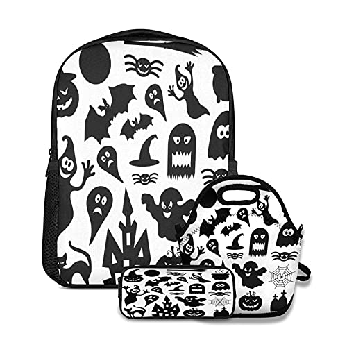 OcuteO Black Halloween Monster On White Laptop Backpack Set Matching Lunch Tote Bag And Pencil Pouch For Women Teen Girls Boys Kids 3 In 1
