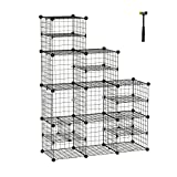 C&AHOME Metal Wire Cube Storage Organizer, Closet Cabinet, DIY Book Shelf, Large and Small Style Divider Ideal Design for Closet, Bedroom, Living Room, Office Black ZLW309B
