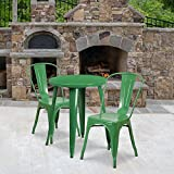 Flash Furniture Commercial Grade 24' Round Green Metal Indoor-Outdoor Table Set with 2 Cafe Chairs
