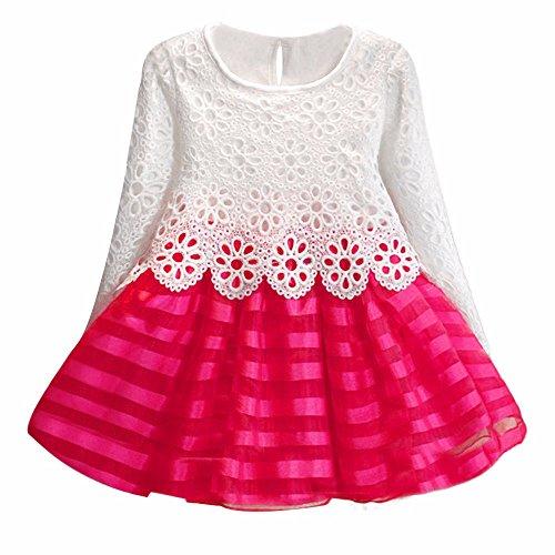 Vestidos Para Niñas K-youth Ropa Para Bebe Niña Elegantes Vestido de Princesa Niña Infantil Hueca Vestido de Niña Para Fiestas Invierno Otoño Disfraz en Liquidacion 2 a 7 Años(Rosa Caliente, 2-3 años)