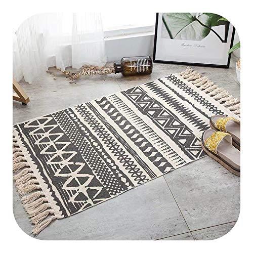 Tür Teppiche Indoor, Retro- böhmische Hand gesponnene Baumwolle Leinen Teppich Teppich Bedside Geometric Bodenmatte Wohnzimmer Schlafzimmer Inneneinrichtungen, 4