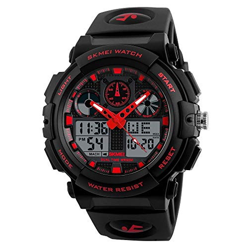 Skmei S-Shock Multi-Functional Analog Digital Sports Watch for Men's & Boys (Red)