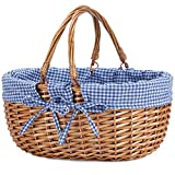 G GOOD GAIN Wicker Picnic Basket with Double Folding Handles,Willow Picnic Hamper,Natural Hand Woven Easter Basket,Easter Eggs and Candy Basket,Bath Toy and Kids Toy Storage,Gift Packing Basket.Blue