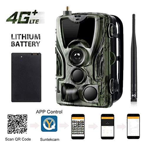 Trail-Jagd-Kamera, 4G APP Full HD wasserdichte Überwachungskameras, 120 ° Weitwinkel 16MP 0.3s Trigger-Infrarot-Nachtsicht-Tier-Kameras, mit Cloud-Service-Funktionen und 5000 mAh Lithium-Batterie (SD-