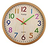 HongLianRiven Reloj de Pared Reloj de Pared silencioso Redondo Dormitorio Decorativo de Reloj Decorativo (números de Colores) Reloj de Pared más Grande Decoraciones para el hogar