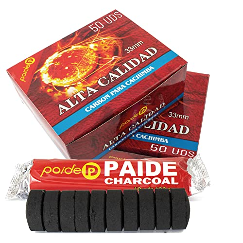 [Pack] Discos de carbón para quemador, incienso, incensario, ahumar, shisha, hookah, narguile, cachimba. Duraderos. Para uso doméstico. 3.3 centímetros de diámetro. (50)