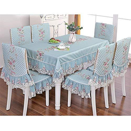Family Life Equipment Tischdecke Blumendruck Wasserdichte Runde Tischdecke Einfache Moderne Runde Tischdecke Stoff Home Chair Cover Set (enthalten 6 Sitzkissen + 6 Kissen) Dekorative Tischdecke Für