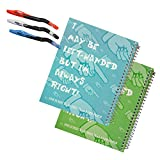 Left-Handed 8.5'x6.5' Graph Paper Spiral Notebooks, Set of 2, Plus 3 Left-Handed Visio Pens, Assorted Colors
