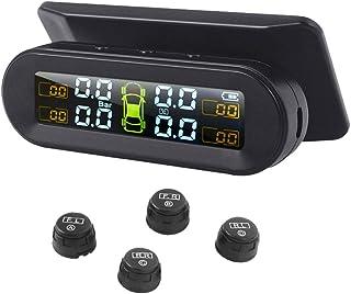 D DOLITY Sistema de monitoramento de pressão de pneu TPMS monitoramento de temperatura de energia solar universal com 4 se...