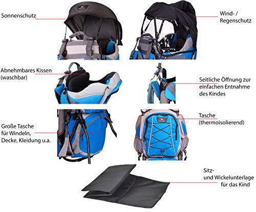 Ultrapower Kindertrage | Kinderkraxe | Tragerucksack zum Wandern mit Babys | Kraxe | Babytrage Rucksack | Tragegestell Schulter - Rückentrage | Kinder Trage Herbst Kangoo/blau | Neverland