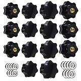 Greluma 14 Piezas Perilla de Sujeción de Rosca Moleteada M6 y M8,Empuñadura de Estrella,Perillas de Mano en Forma de Estrella Perilla de Sujeción de Mango Atornillado de Plástico Negro con Arandelas
