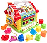 TUMTUM Early Educational Toys, Colorful Musical Baby House with Shape Sorters, Musical Piano Keys, Counting Math Beads, Blocks Activity Cube, Multi Game Play Cube for Children (Baby Boys and Girls)