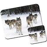 Lobo Lobos alfombrilla de ratón/Pad y posavasos Wolf Pack In Snow