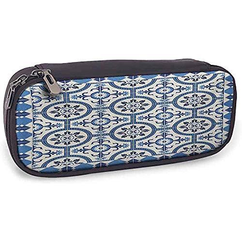 Estuche para lápices marroquíes Uso diario Motivos de mosaico arabescos inspirados en el estilo turco oriental en diseño retro clásico Azul grisáceo