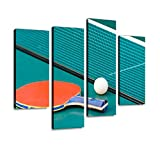 Ping Pong Paddle and Table with net Canvas Wall Art Hanging Paintings Modern Artwork Abstract Picture Prints...