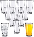 Clear Glass Beer Cups – 12 Pack – All Purpose Drinking Tumblers, 16 oz – Elegant Design for...