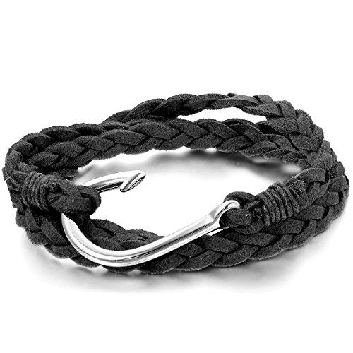 JewelryWe Schmuck Herren Damen Armband, Retro Charm Handmade Angelhaken Armreif, Samtseil Legierung, Schwarz Silber