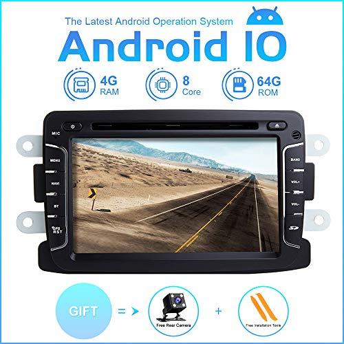 Android Autoradio Stereo, ZLTOOPA Für Rentult Duster Dacia Logan Sandero Xray 2 Android 9,0 Octa Core 4G RAM 64G ROM HD Digitaler Multi-Touchscreen Auto Stereo GPS Radio